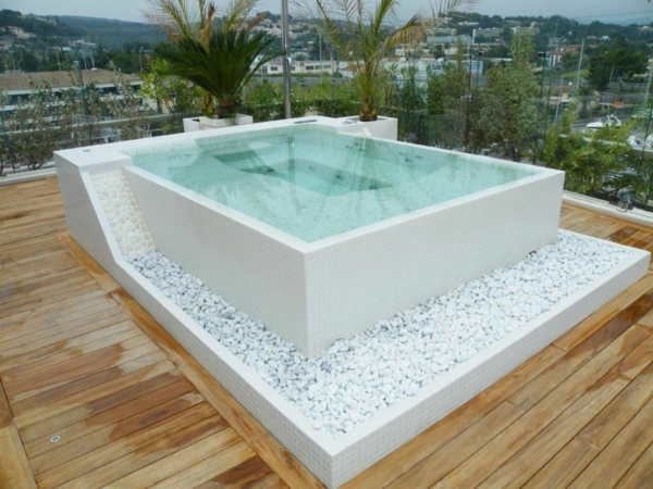 Backyard designs with hot tub joy studio design gallery for Schema piscine a debordement