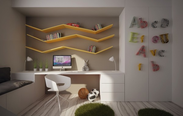 12 ideen f r kinderzimmer mit coolen eingebaute einheiten. Black Bedroom Furniture Sets. Home Design Ideas