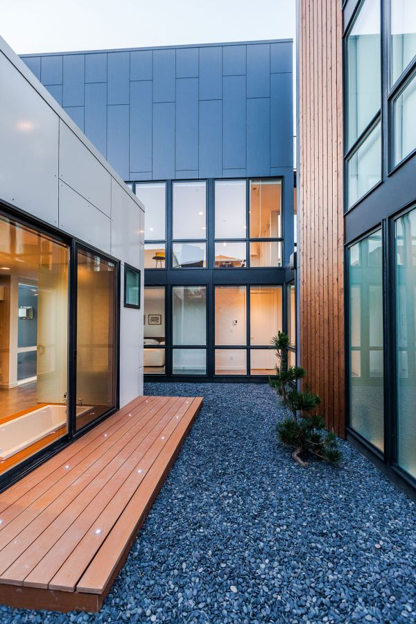 Modernes Haus in Seattle blau