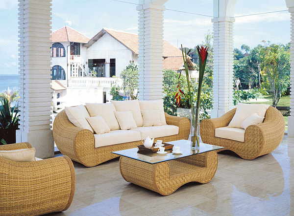 Patio Design elegant Möbel korb couch sofa tisch vase
