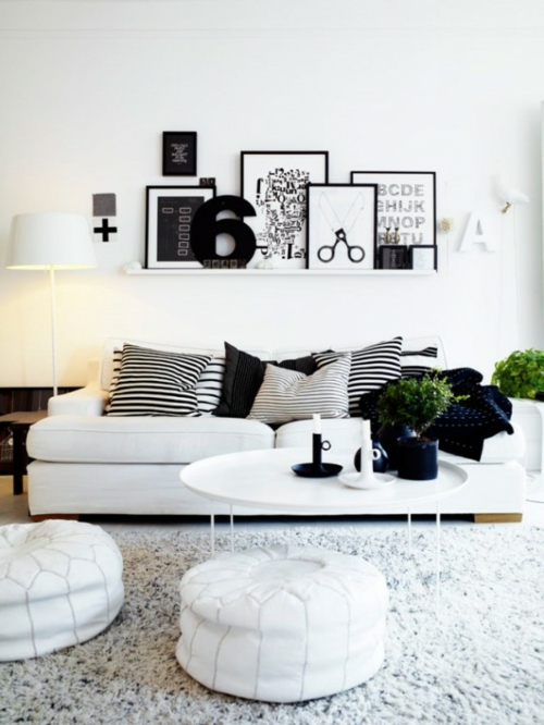 wohnzimmer weiß schwarz:Black and White Living Room Decor