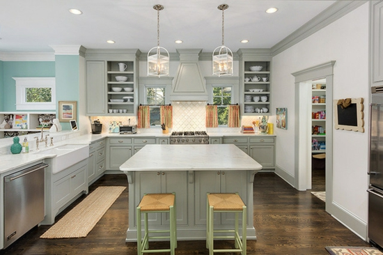 Kitchen Grey Cabinets With Dark Hardware
