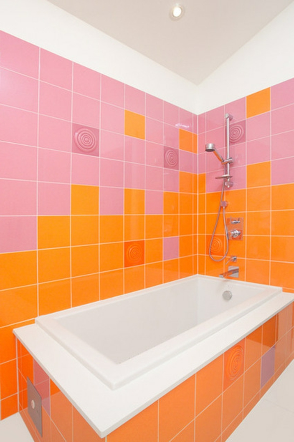 toll Farbkombinationen wanne orange rosa