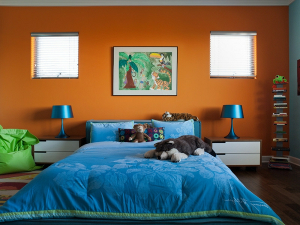 tolle Farbkombinationen bett blau orange