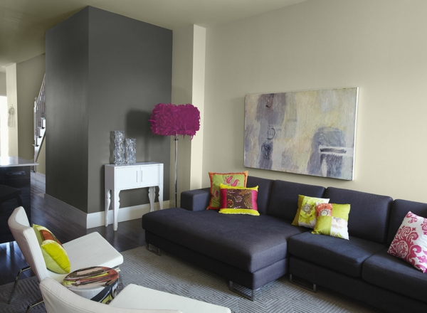 Modern Living Room Grey Walls