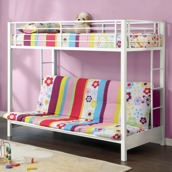 Twin Loft Bed Wood Bookcase Toy Storage