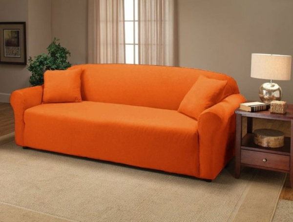 orange stretchbezug für den sofa