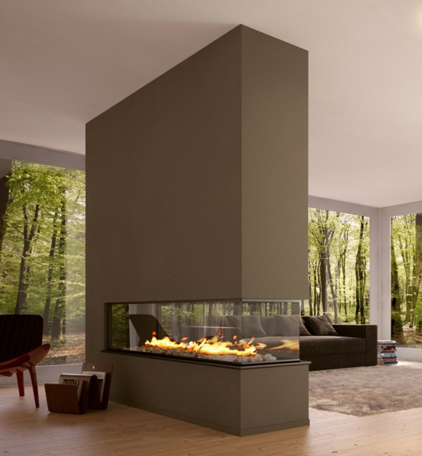 Modern Fireplace Room Divider