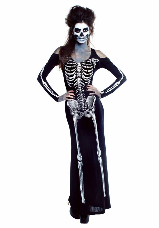 halloween verkleidungen party ideen frauenkleid skelletenkleid halloween schminken