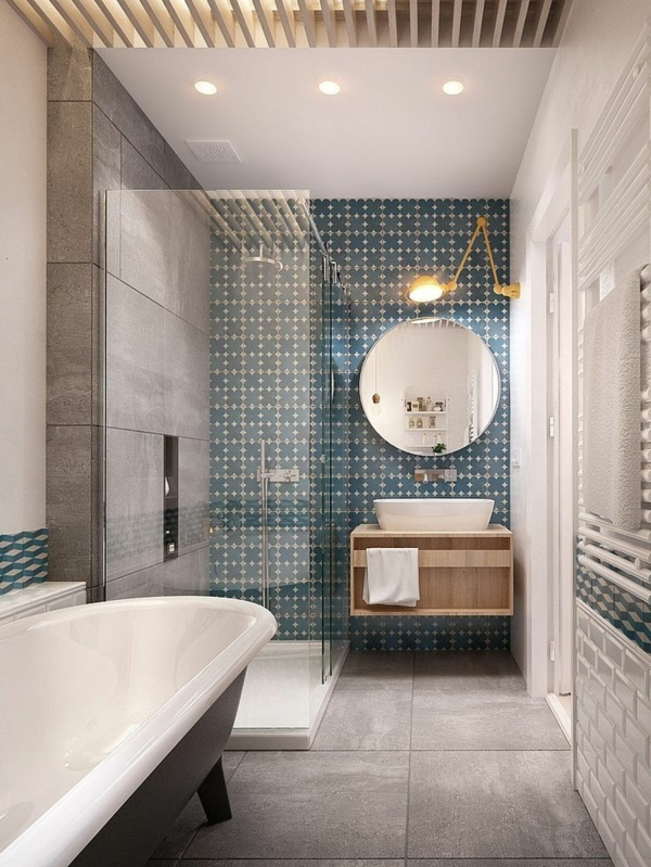 Lampe Dusche Decke : Blue Bathroom Wall Tile Designs