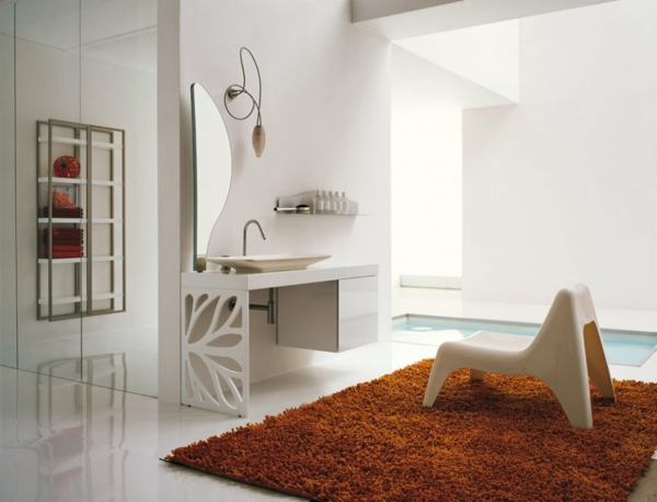 badteppich design orange modernes badezimmer sessel