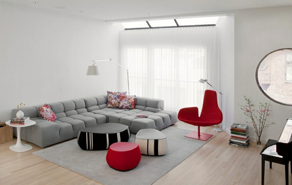 roter sessel wohnzimmer interieur roter hocker