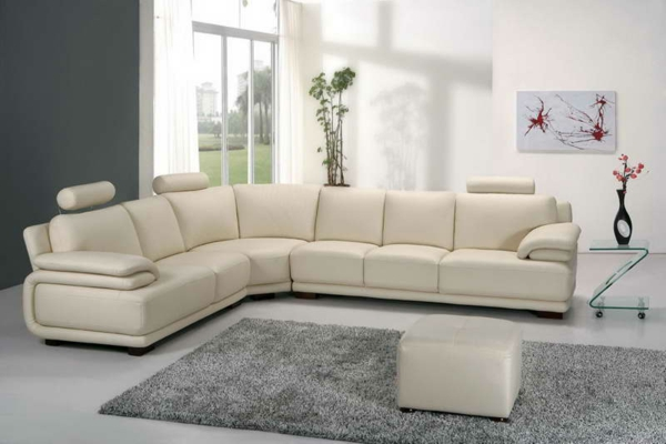 White Leather Sleigh Bed King Size