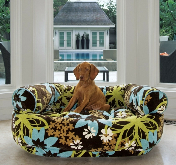 hundesofa design frisches muster florale elemente
