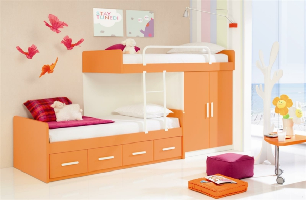 kinderbett mit schubladen kinderzimmer möbel orange