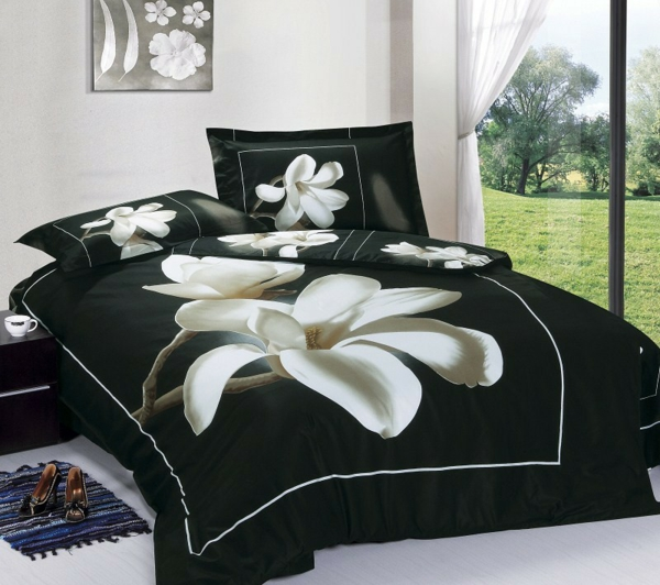 elegante bettw sche f r eine blumige atmosph re im schlafzimmer. Black Bedroom Furniture Sets. Home Design Ideas