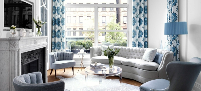Decorating Ideas Gray Blue Pattern Couch Blue Yellow Walls Greycurtains