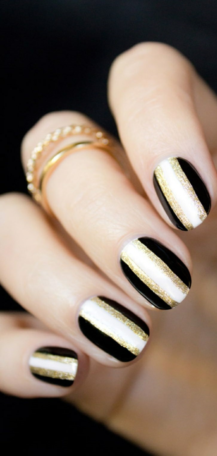 41 Bildideen Fur Nageldesign Schwarz Gold