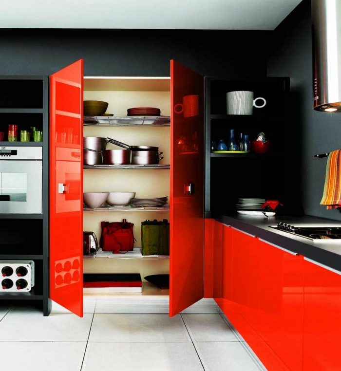 Dark Red Kitchen Cabinets