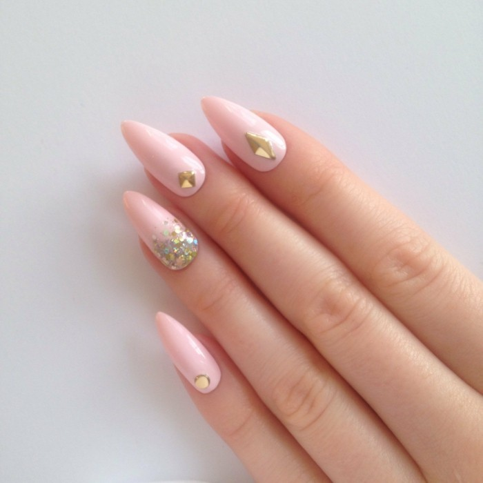 nageldesigns pink dekoration modern gold glanz