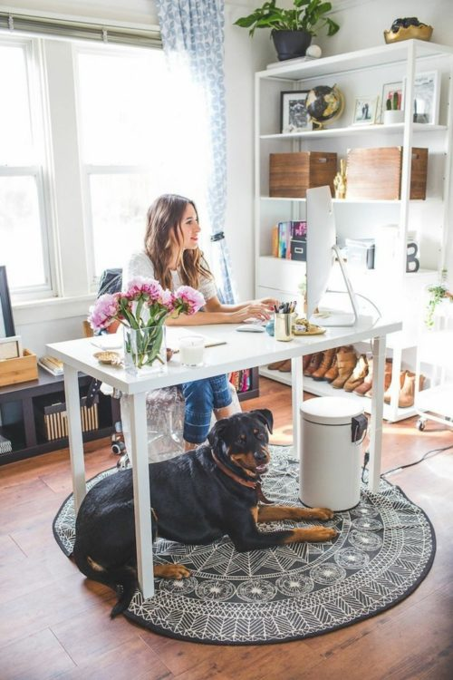skorpion-horoskop-home-office-einrichten-runder-teppich-hund