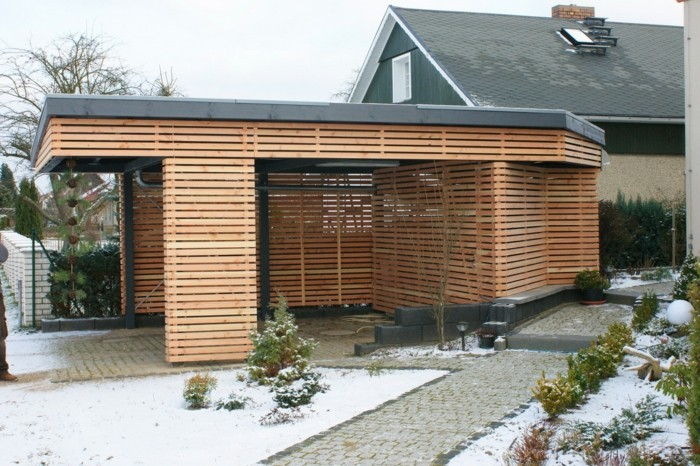Carport Design Trends Ideen Holz Gestaltung Winter