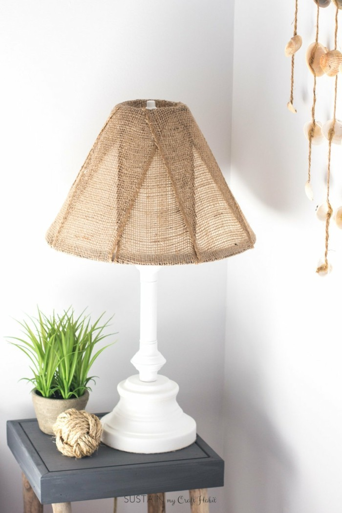 Neutral lamp makeover with burlap shade
