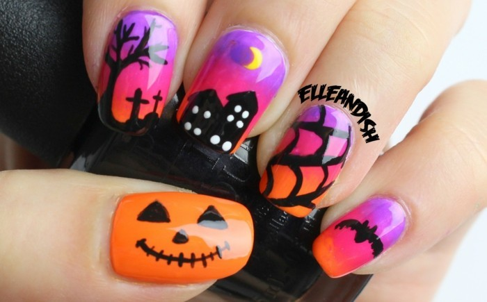 Nageldekoration zum Halloween