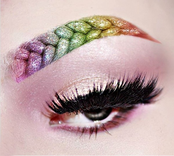 bunte Braided Eyebrows