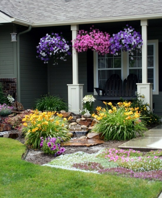 small garden flowers - Amazing Front yard landscaping makeover with waterfall and adirondack