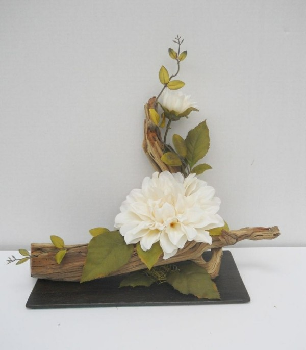 flower arrangement using driftwood Lovely Silk Flower Floral Arrangement Centerpiece on Driftwood