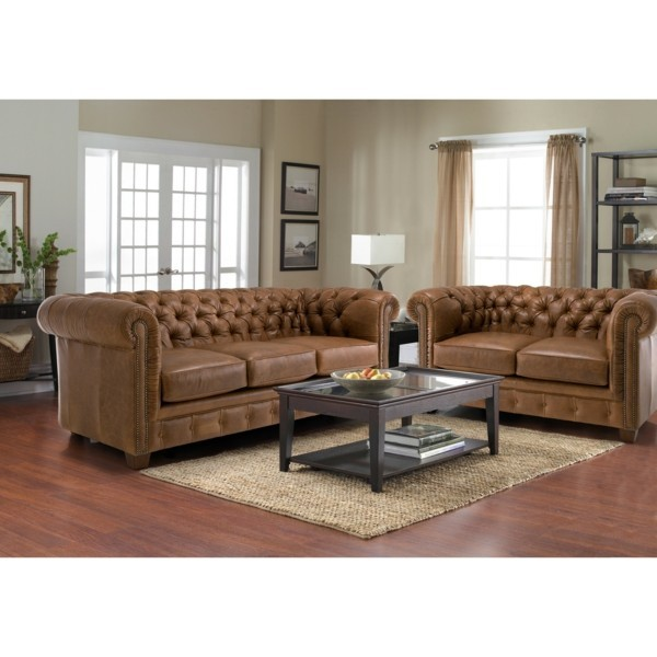 braunes chesterfield sofa