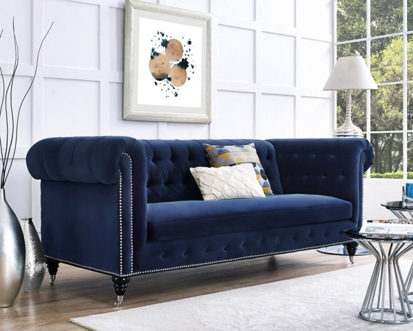 chesterfield sofa in blau