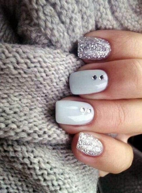 nageldesign glitzer fingernageldesign winternägel
