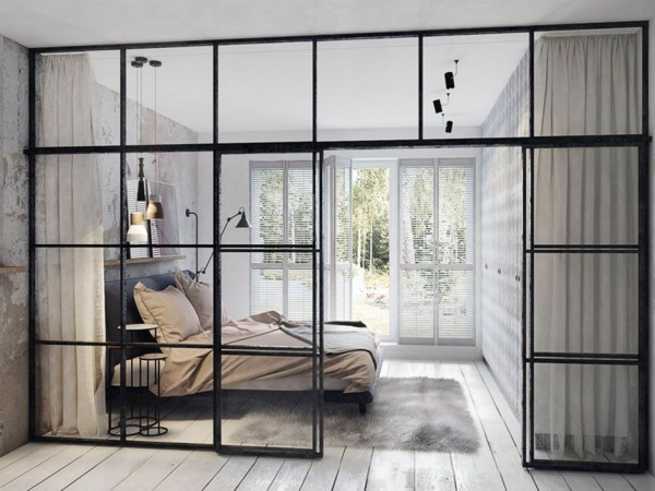darum ist die trennwand im industriellen look perfekt f r ihre wohnung. Black Bedroom Furniture Sets. Home Design Ideas