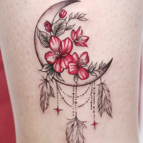 blumen tattoo ideen traumfänger tattoo ideen