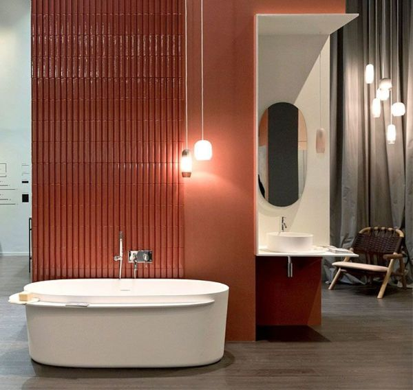 Badezimmer Ideen tolle rote Trennwand