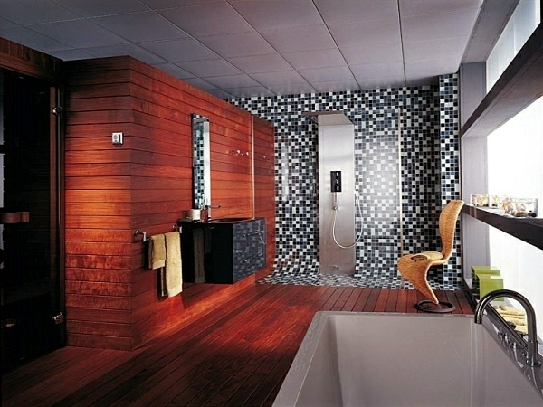 Mosaic tiles separate bathroom areas by color