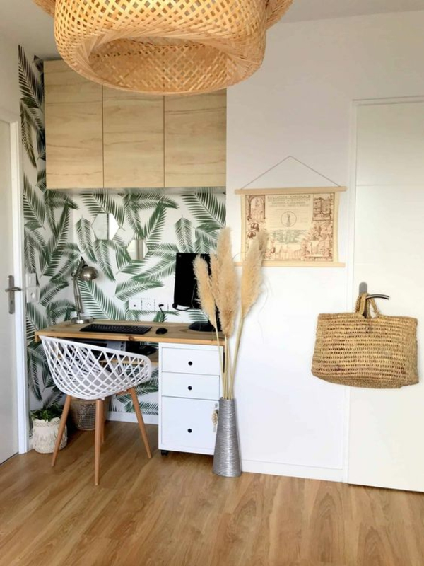 sommermotive tropisches muster tapete pflanzen home office